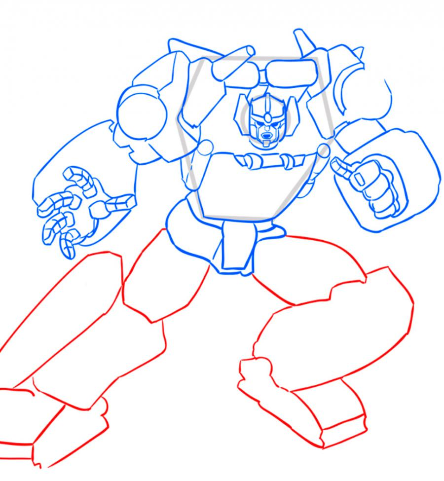 How to draw a transformer Shokveyva with a pencil step by step 8