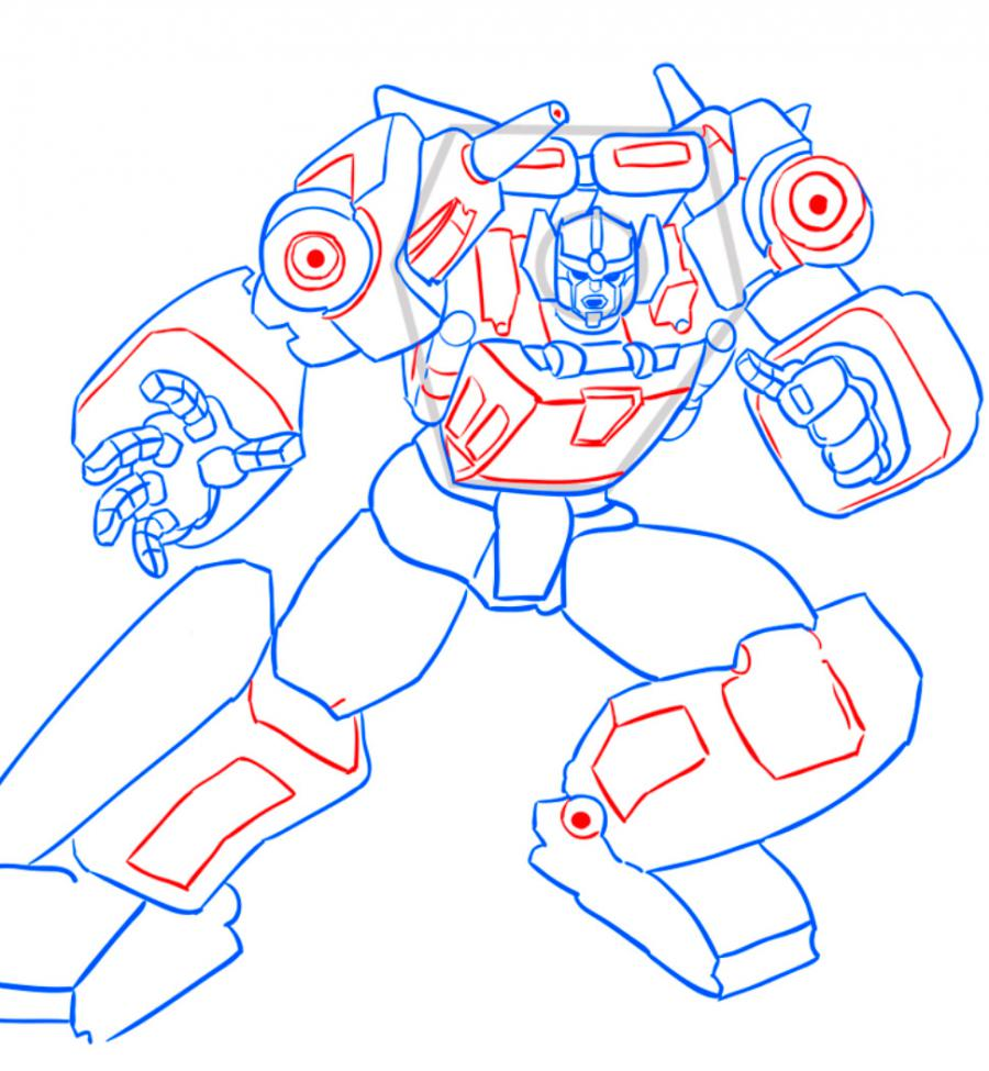 How to draw a transformer Shokveyva with a pencil step by step 9