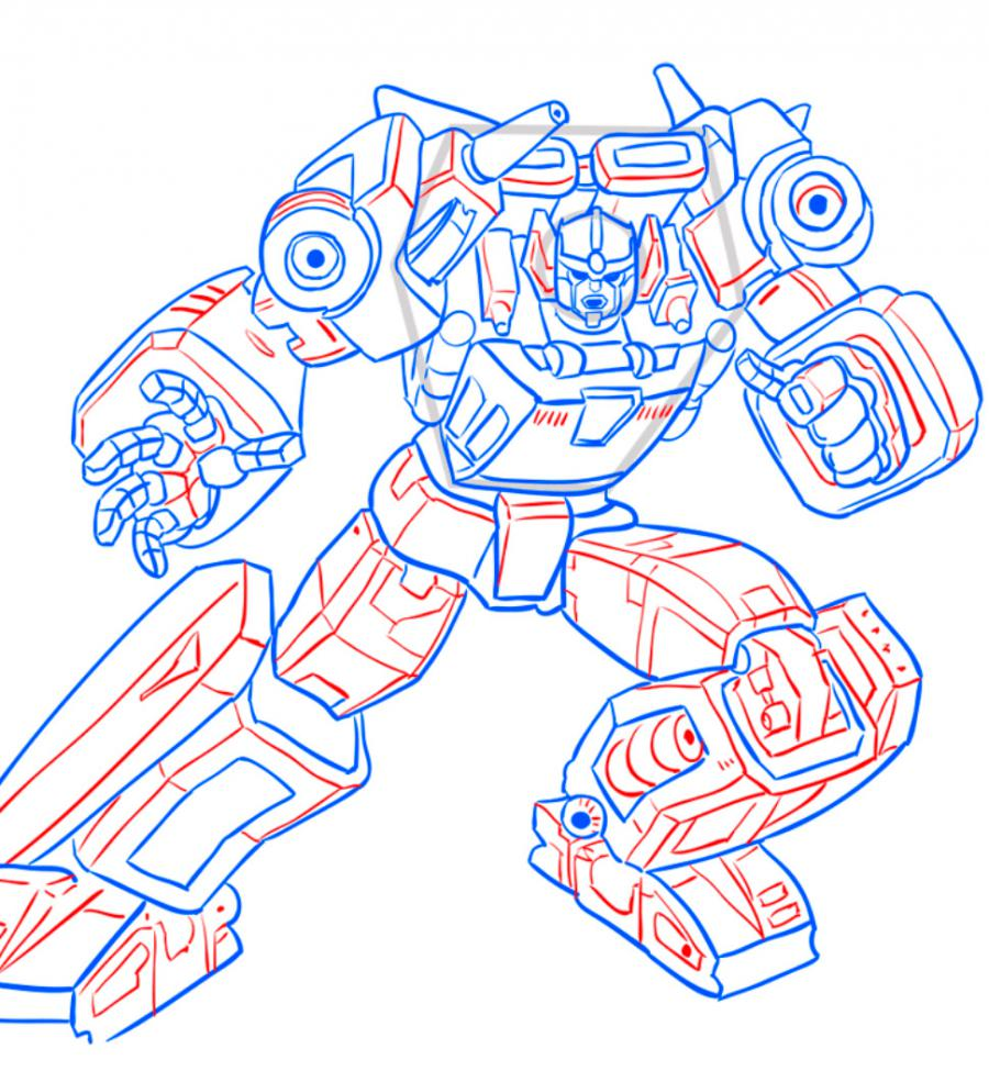 How to draw a transformer Shokveyva with a pencil step by step 10