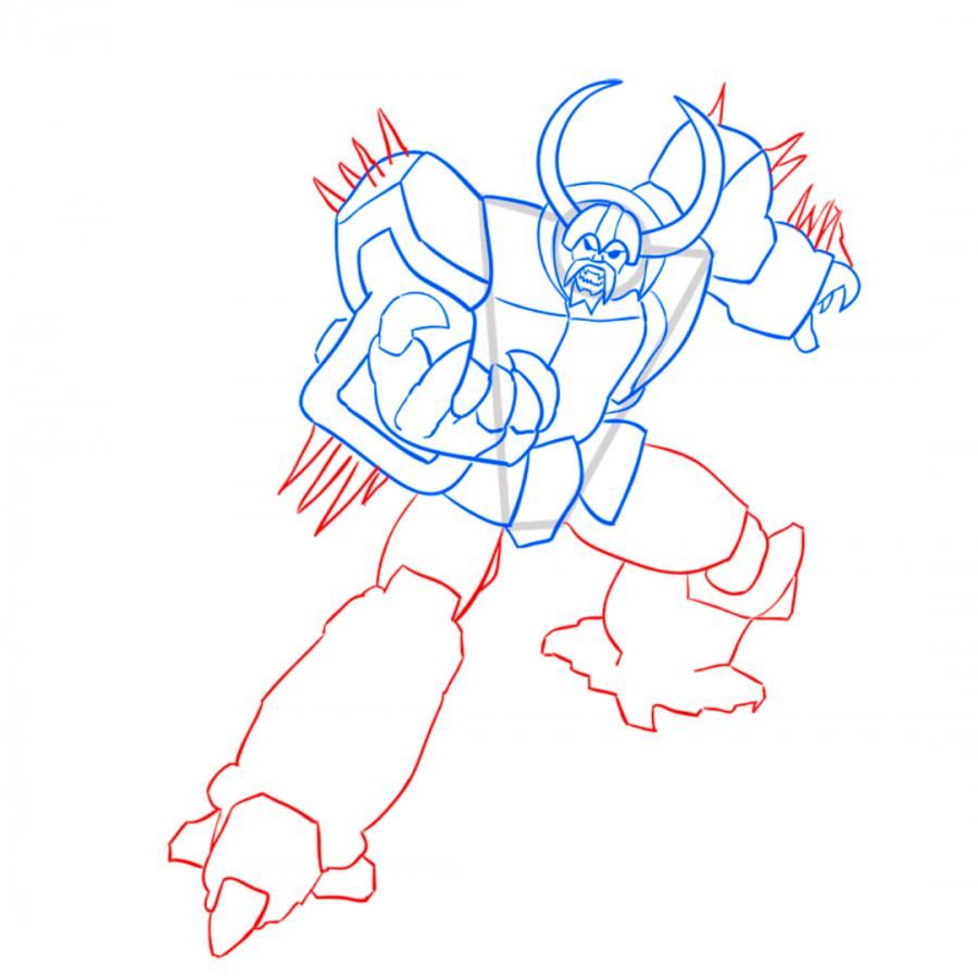 How to draw Rodimus Prime's transformer with a pencil step by step 7