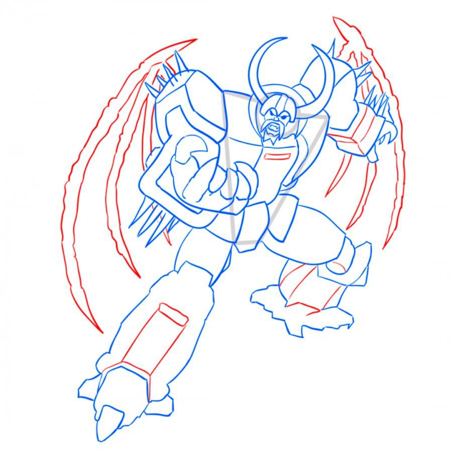 How to draw Rodimus Prime's transformer with a pencil step by step 8