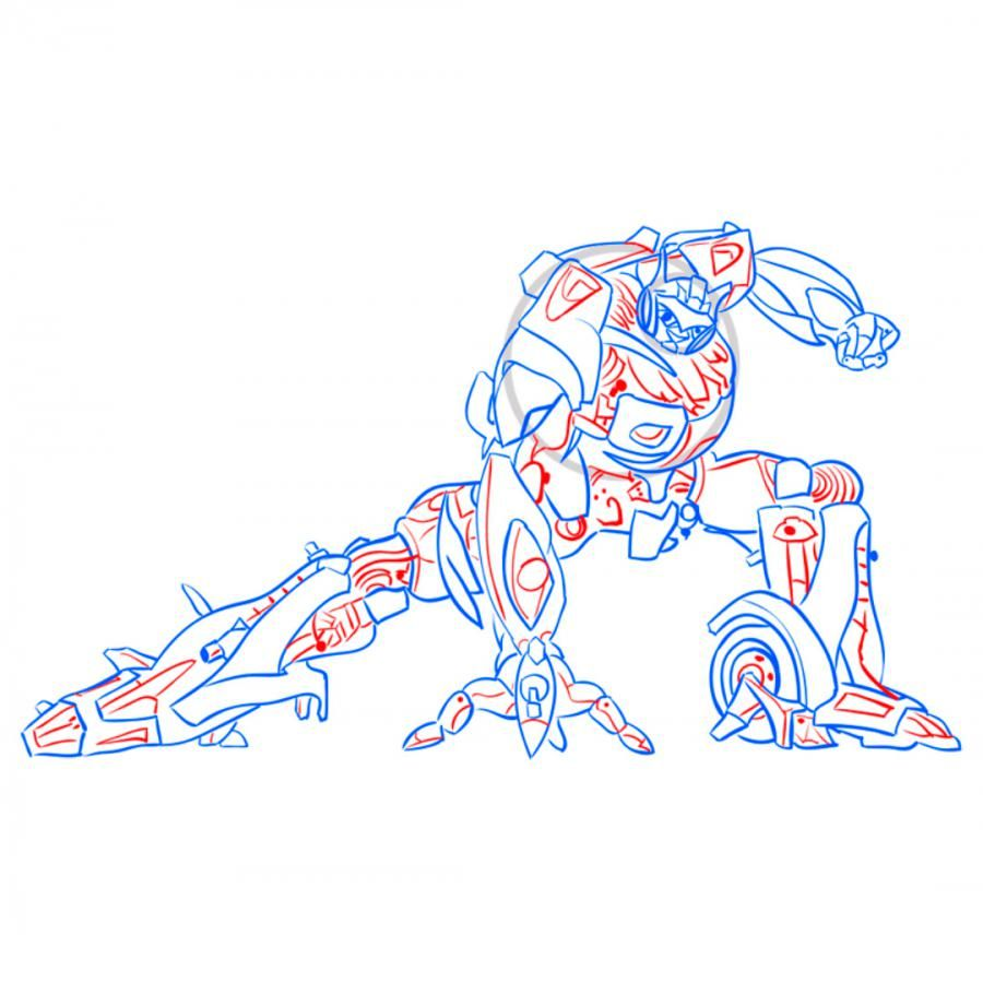 How to draw Optimus Prime's transformer with a pencil 9