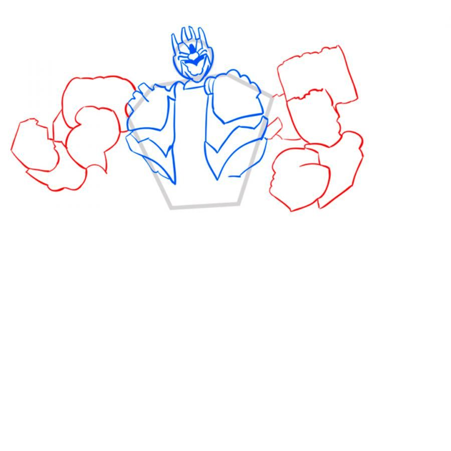 How to draw Dzhetfayer's transformer with a pencil step by step 6