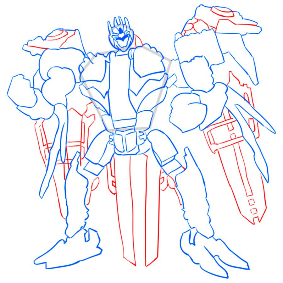 How to draw Dzhetfayer's transformer with a pencil step by step 9