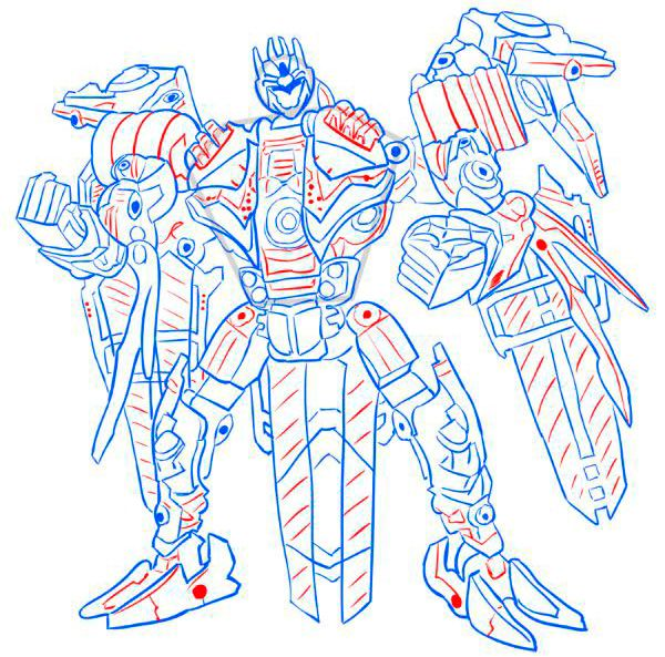 How to draw Dzhetfayer's transformer with a pencil step by step 10