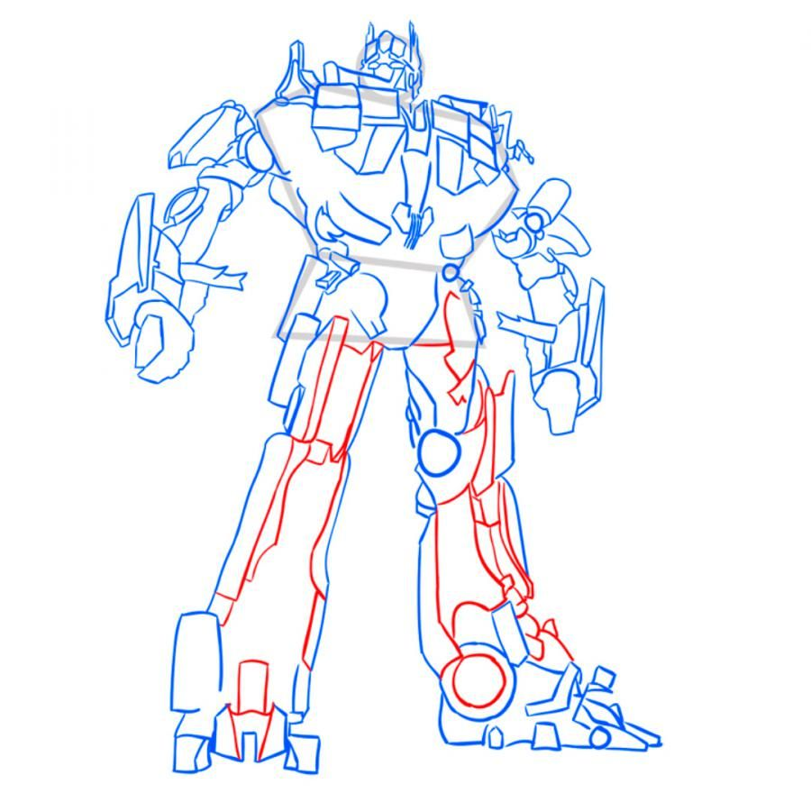 How to draw Grimlok's transformer with a pencil step by step 11