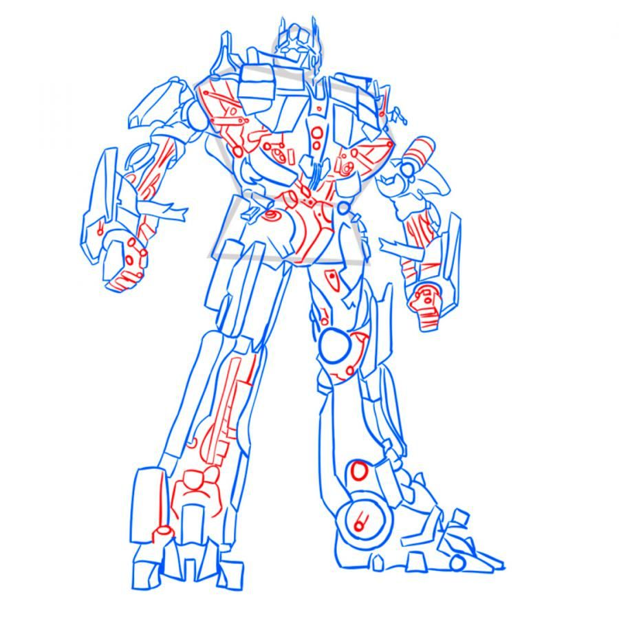 How to draw Grimlok's transformer with a pencil step by step 12