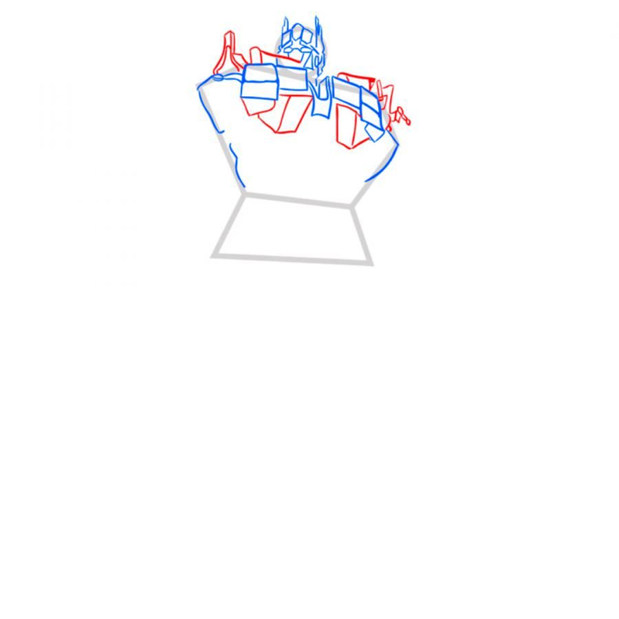 How to draw Grimlok's transformer with a pencil step by step 5