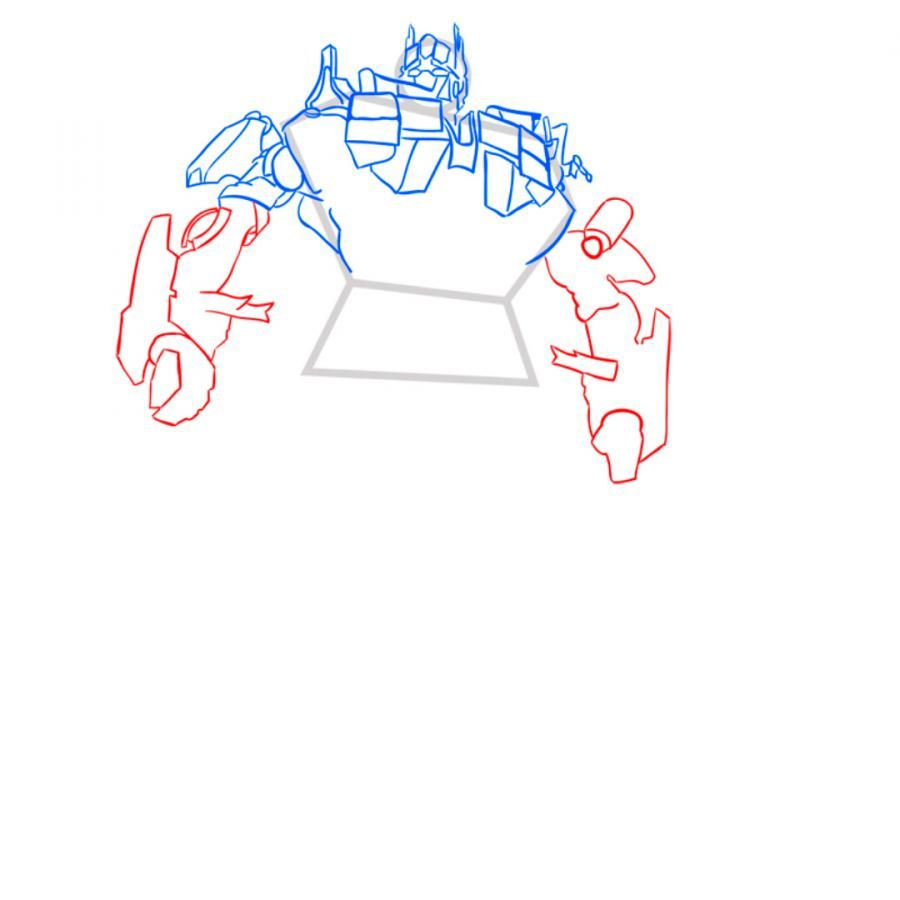 How to draw Grimlok's transformer with a pencil step by step 7