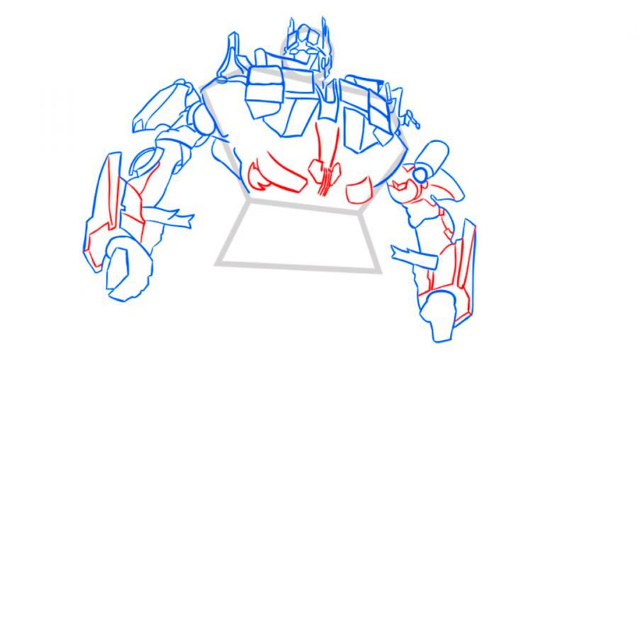 How to draw Grimlok's transformer with a pencil step by step 8