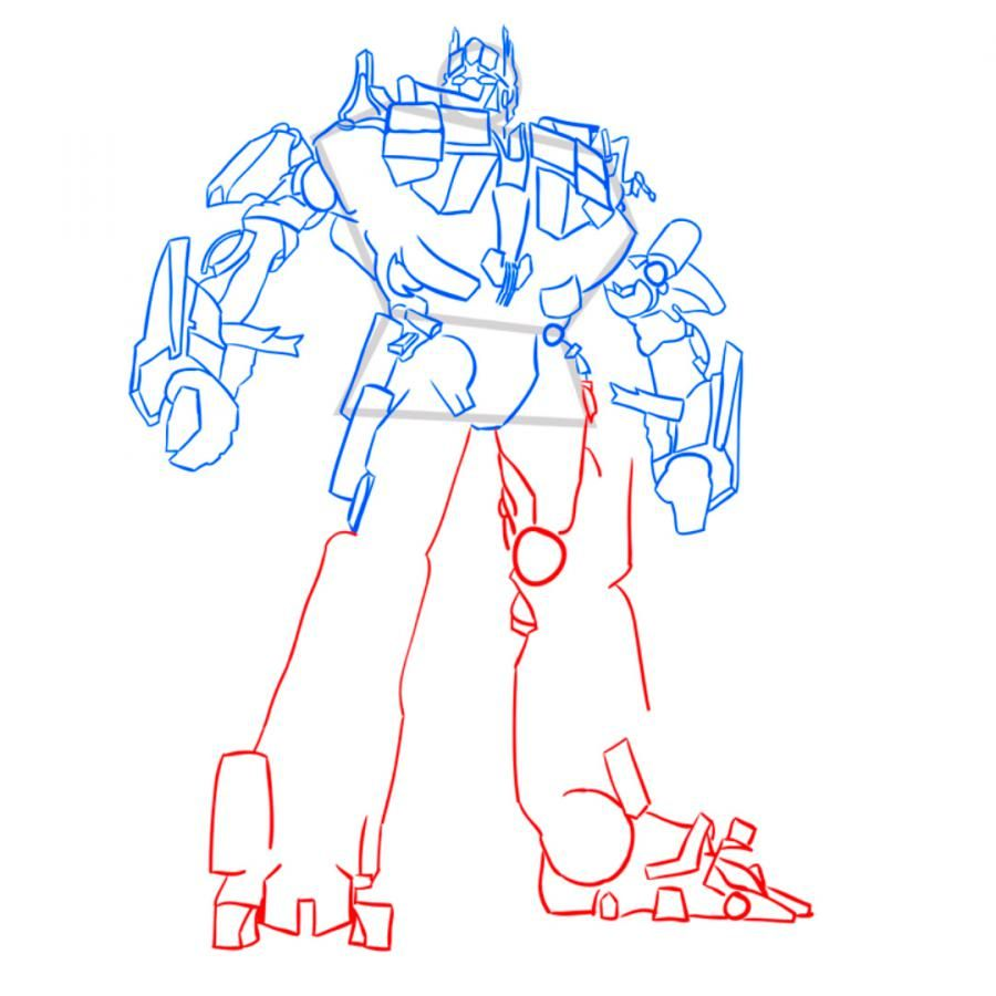 How to draw Grimlok's transformer with a pencil step by step 10