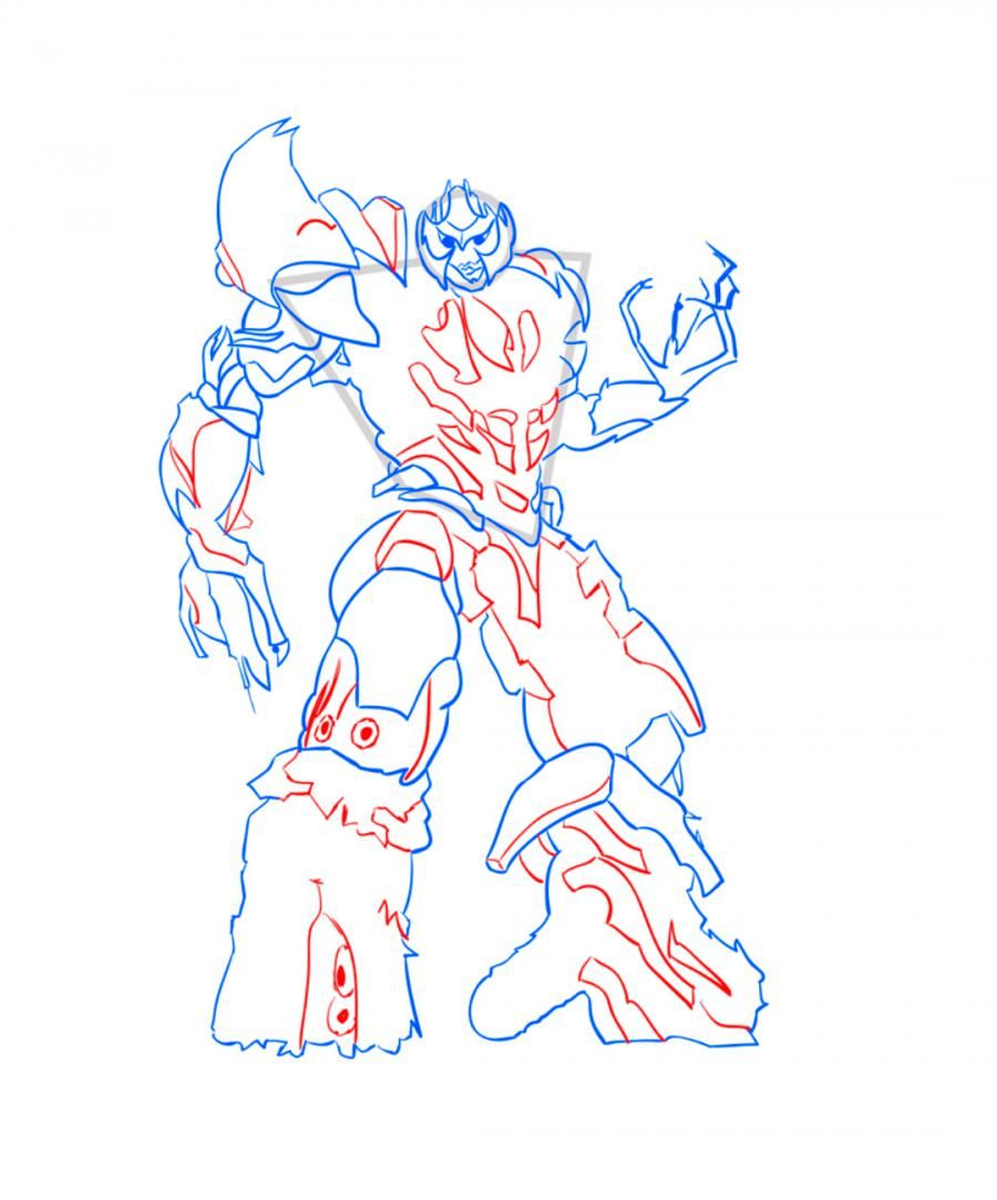 How to draw Galvatron's transformer step by step 8