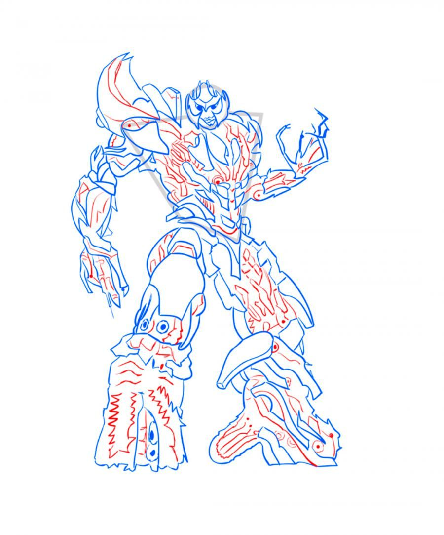 How to draw Galvatron's transformer step by step 9
