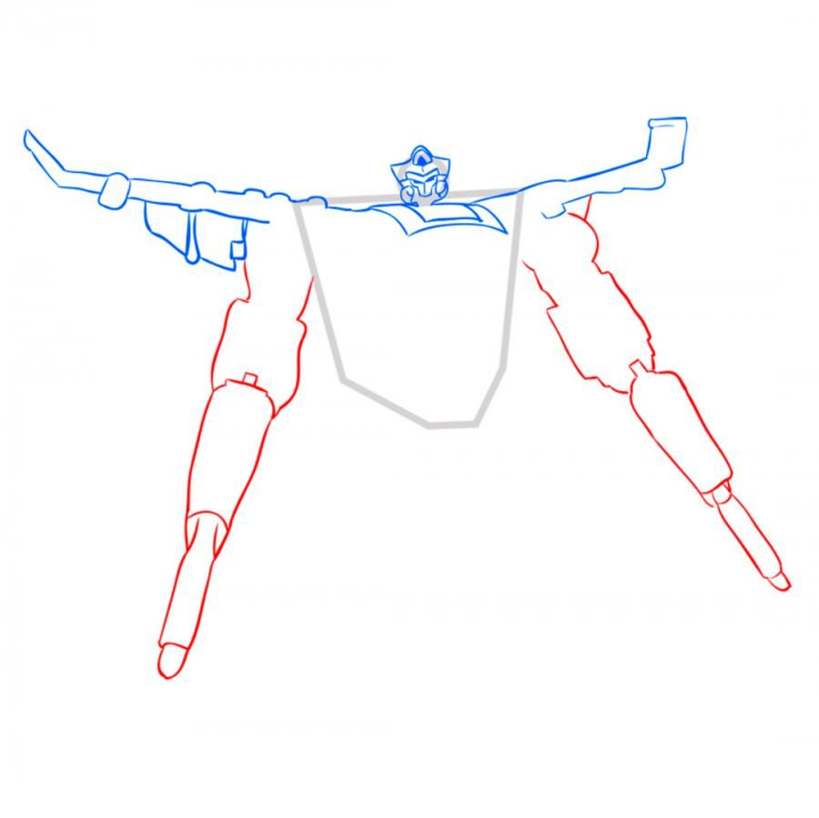 How to draw a transformer of Bamblbi with a pencil step by step 5