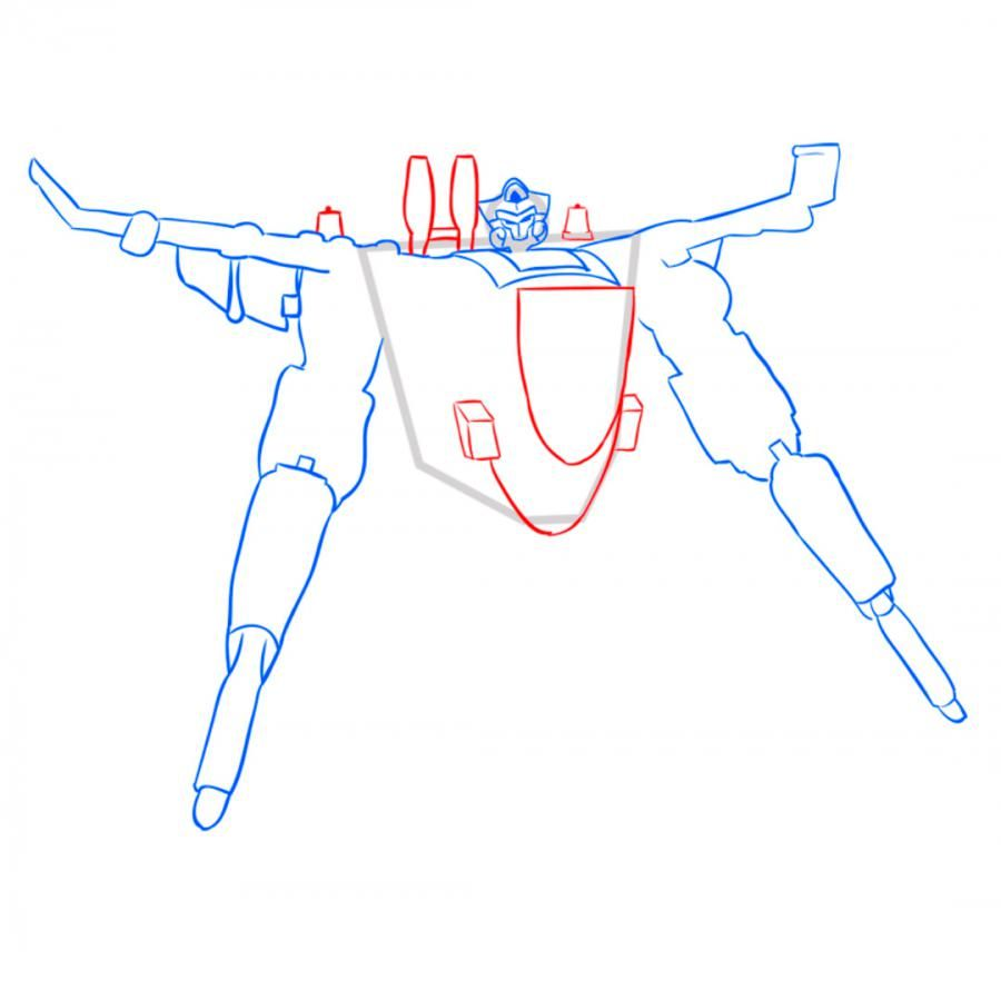 How to draw a transformer of Bamblbi with a pencil step by step 6