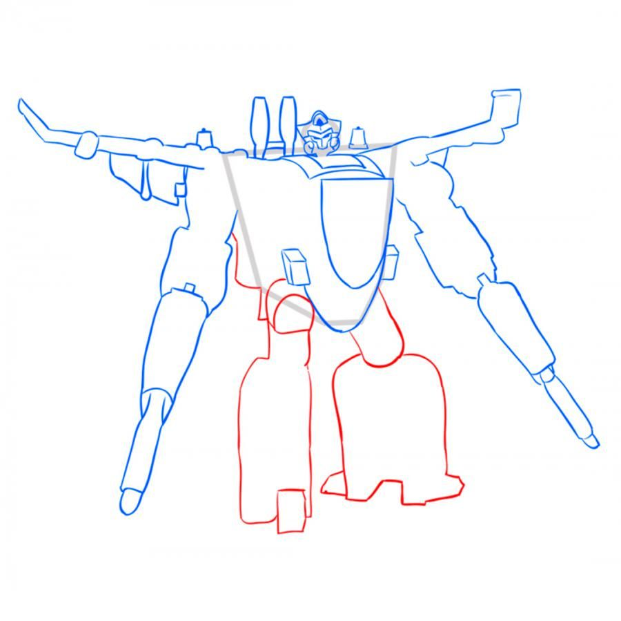 How to draw a transformer of Bamblbi with a pencil step by step 7