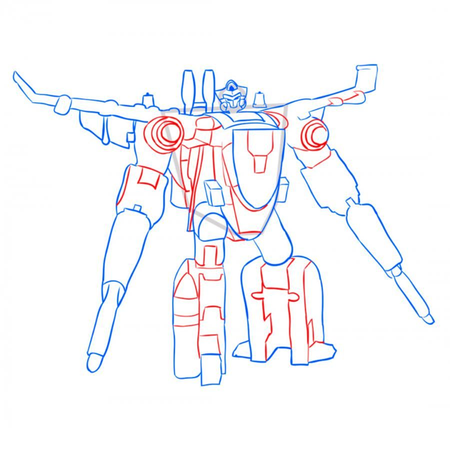 How to draw a transformer of Bamblbi with a pencil step by step 8