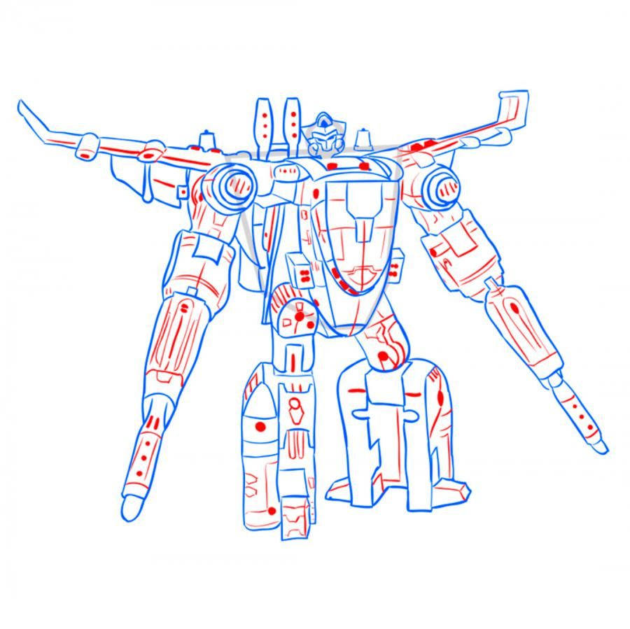 How to draw a transformer of Bamblbi with a pencil step by step 9