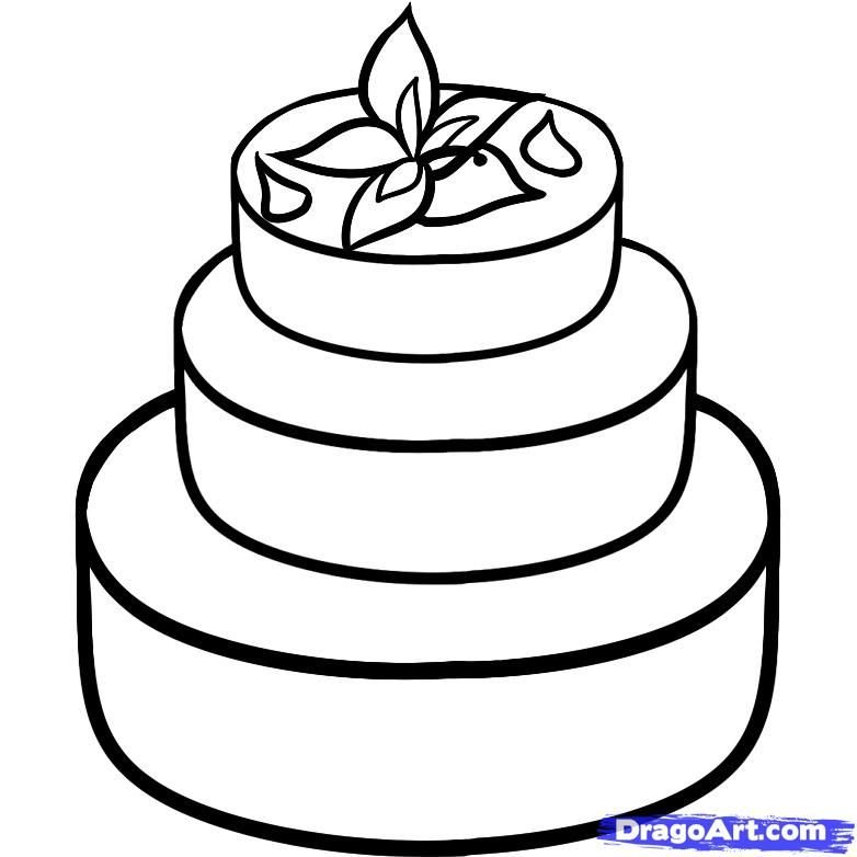 How to draw Wedding cake with a pencil step by step