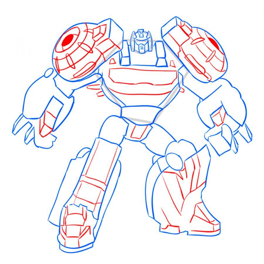 How to draw a transformer on paper with a pencil 9
