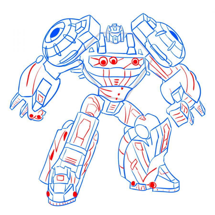 How to draw a transformer on paper with a pencil 10