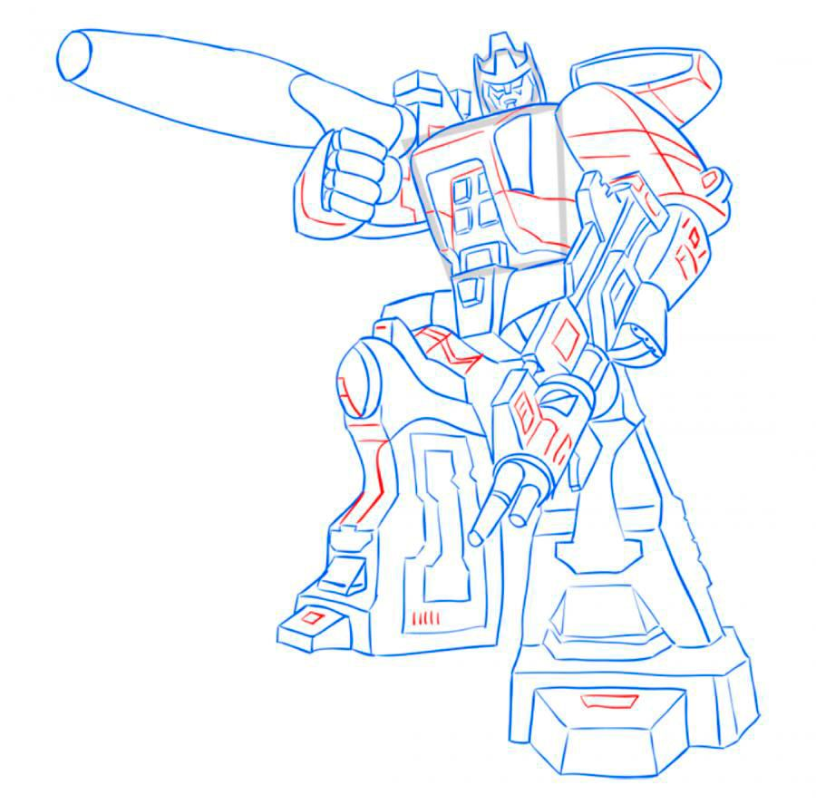 How to draw Optimus Prime with a pencil step by step 11