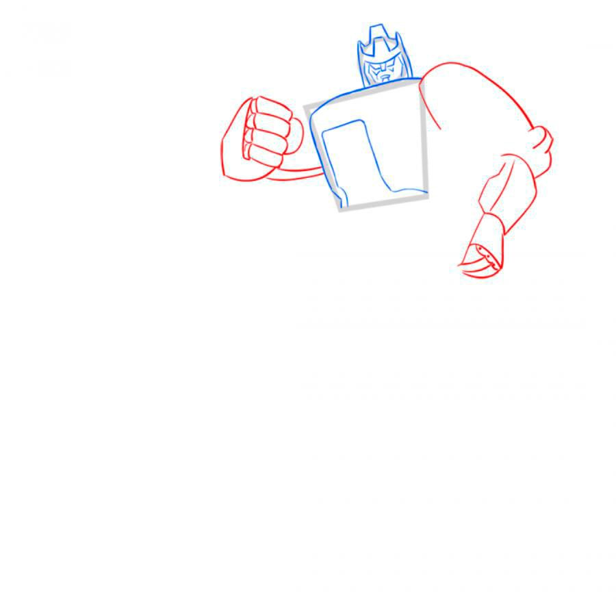 How to draw Optimus Prime with a pencil step by step 5