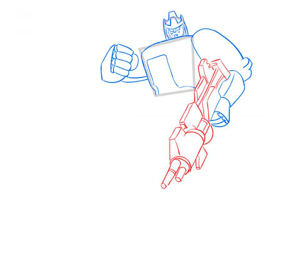 How to draw Optimus Prime with a pencil step by step 6