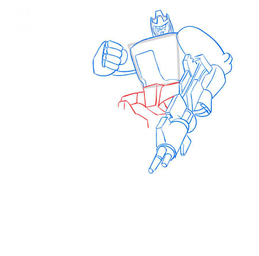 How to draw Optimus Prime with a pencil step by step 7