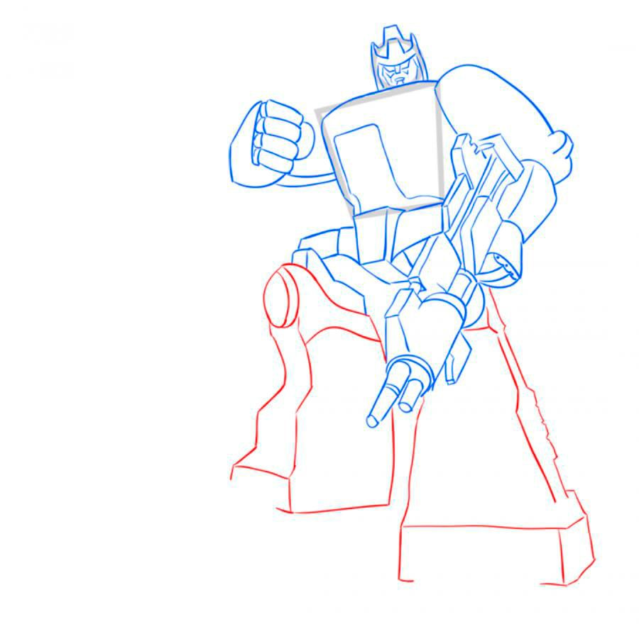 How to draw Optimus Prime with a pencil step by step 8