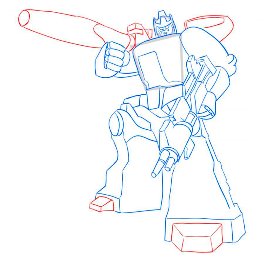How to draw Optimus Prime with a pencil step by step 9