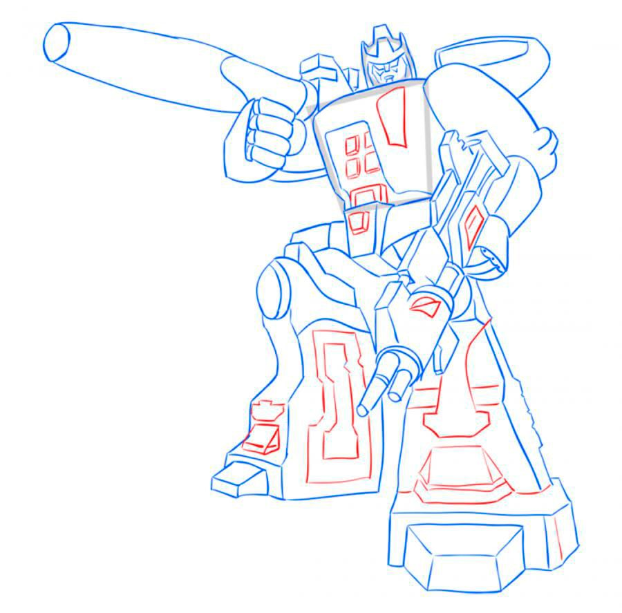 How to draw Optimus Prime with a pencil step by step 10