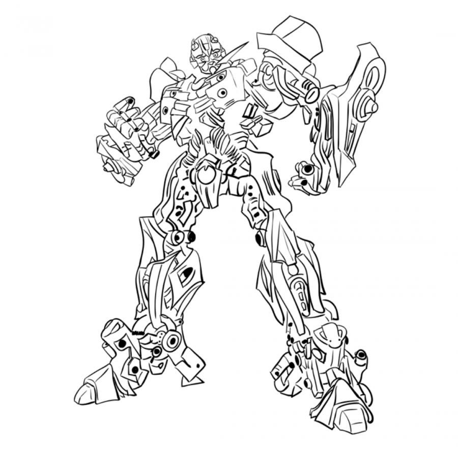 How to draw a transformer of Bamblbi with a pencil step by step