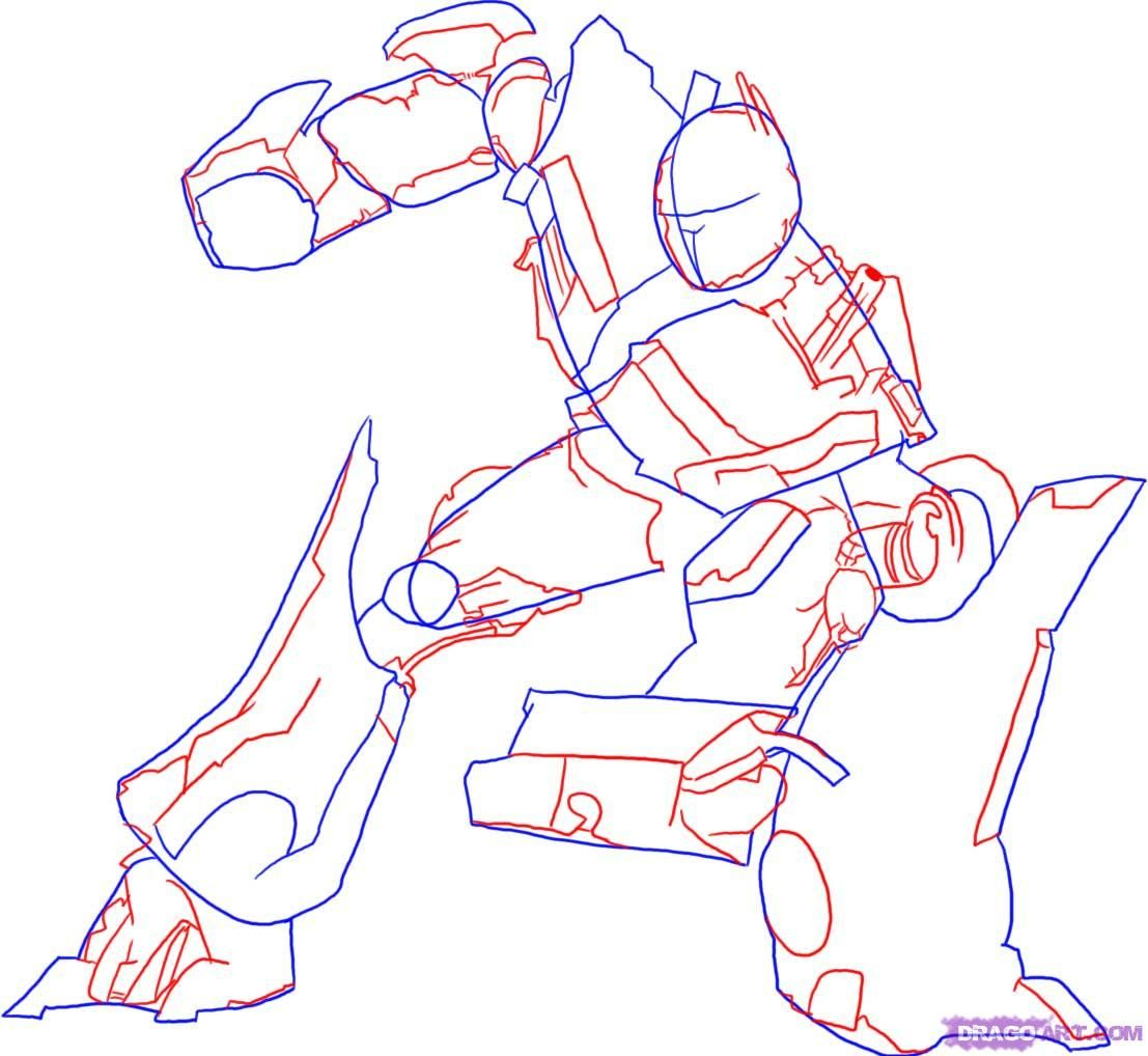 How to draw Megatron with a pencil step by step 3