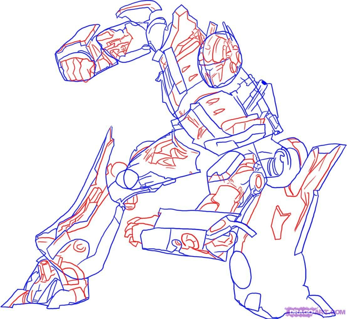 How to draw Megatron with a pencil step by step 4
