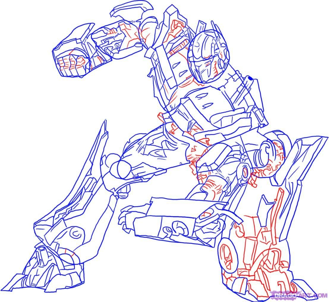 How to draw Megatron with a pencil step by step 5