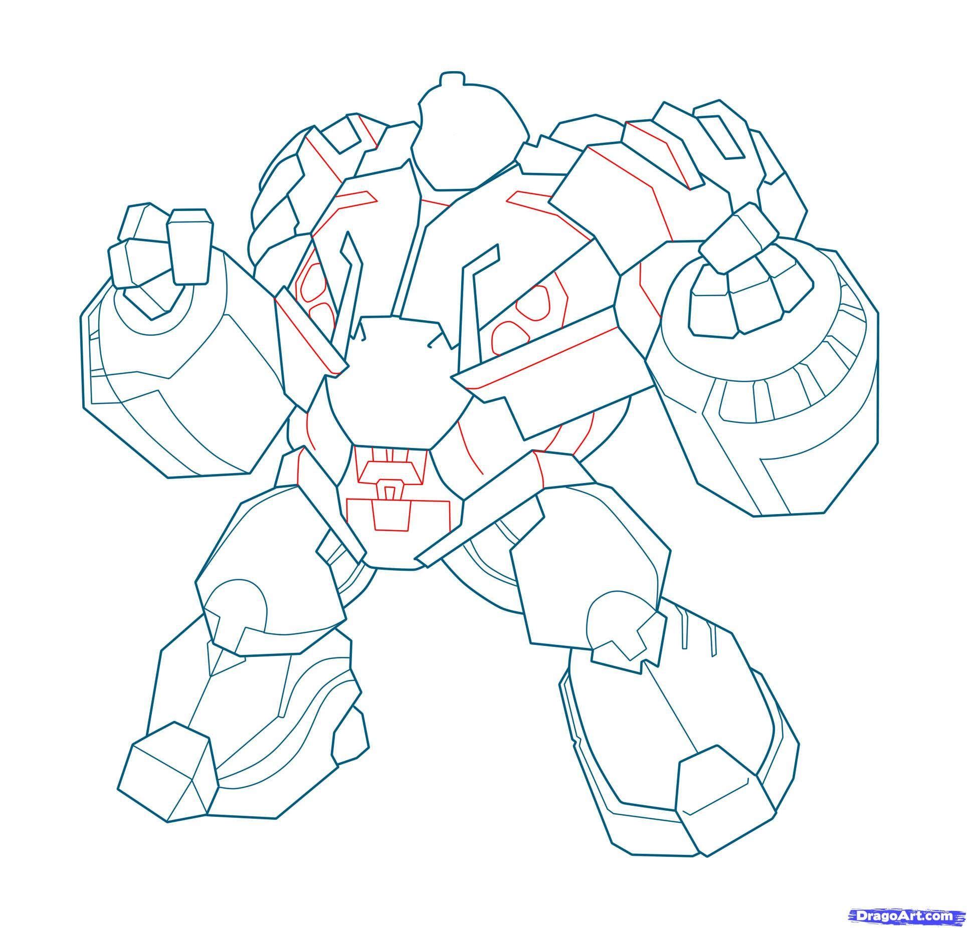 How to draw Megatron with a pencil step by step 16