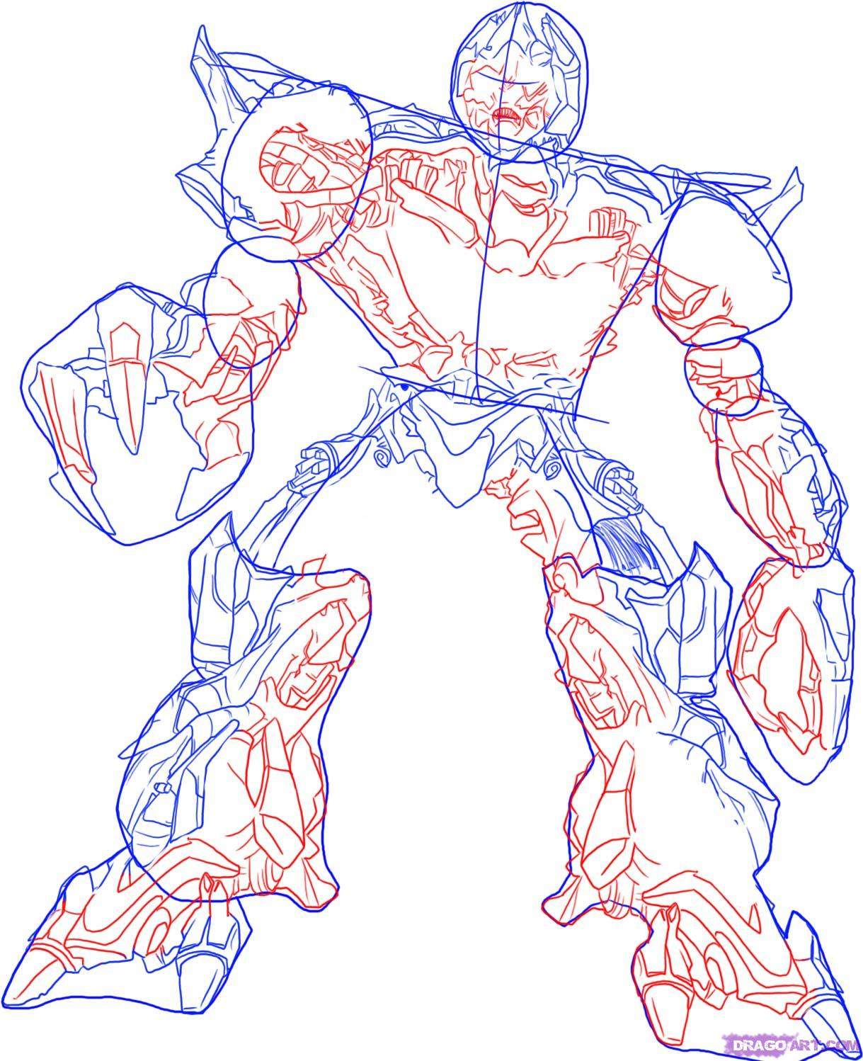 How to draw Optimus Prime with a pencil step by step 4
