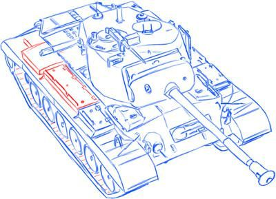 How to draw the average German Pz.Kpfw III tank with a simple pencil 14