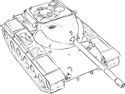 How to draw the average tank of the USA with T-69 a simple pencil