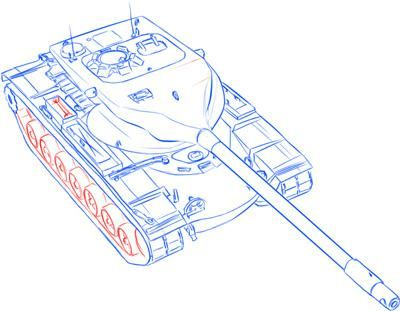 How to draw the German heavy tank the Tiger with a simple pencil 13