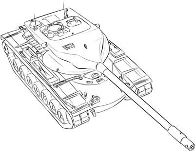 How to draw the heavy American T-57 tank with a pencil