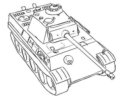 How to draw the German average tank the Panther with a pencil