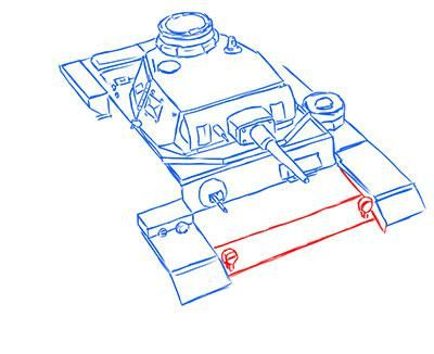 How to draw the superheavy tank the Mouse with a simple pencil step by step 11