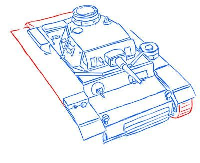 How to draw the superheavy tank the Mouse with a simple pencil step by step 12