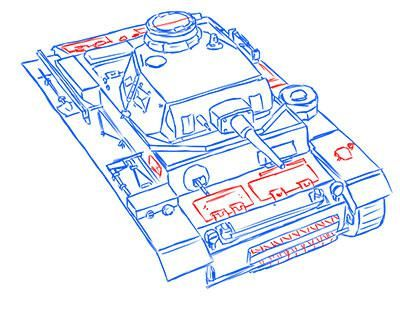 How to draw the superheavy tank the Mouse with a simple pencil step by step 14