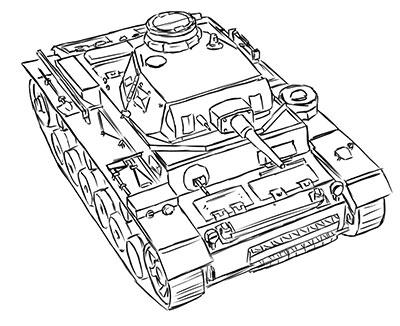 How to draw the average German Pz.Kpfw III tank with a simple pencil
