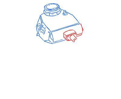 How to draw the superheavy tank the Mouse with a simple pencil step by step 5