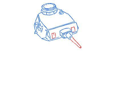 How to draw the superheavy tank the Mouse with a simple pencil step by step 6