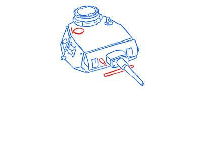 How to draw the superheavy tank the Mouse with a simple pencil step by step 7